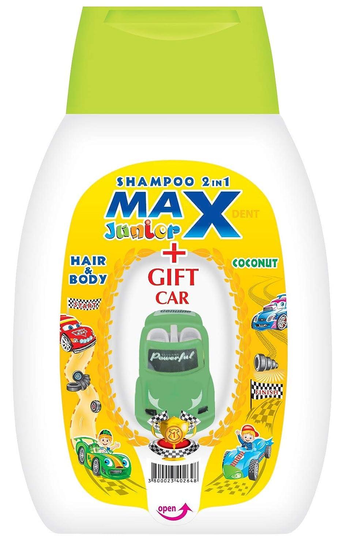 MAX-JUNIOR® - Shampoing corps et cheveux pour enfant 2 en 1 - jouet gratuit - 250 ml - noix de coco STS