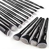 Zoreya Makeup Brushes 15Pcs Makeup Brush Set Premium Synthetic Kabuki Brush Cosmetics Foundation Concealers Powder Blush Blending Face Eye Shadows Black Brush Sets