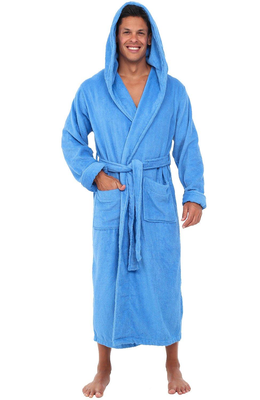 Alexander Del Rossa Mens Turkish Terry Cloth Robe, Long Cotton Hooded Bathrobe, Large XL Marina (A0127MMRXL)