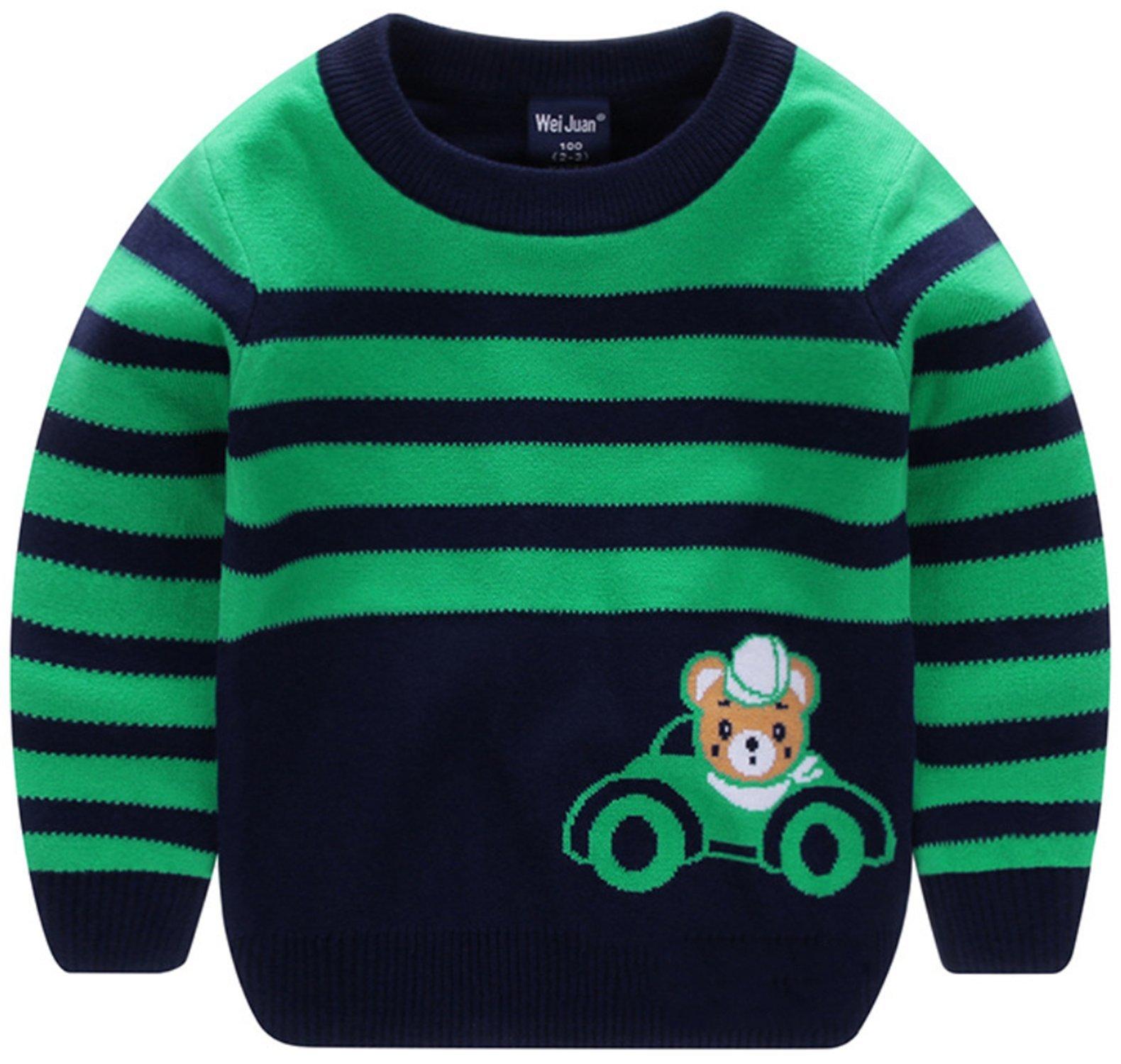 AUIE SAOSA Little Kids Winter double Cotton knit Cartoon Bear warm pullover Sweater Green GN130