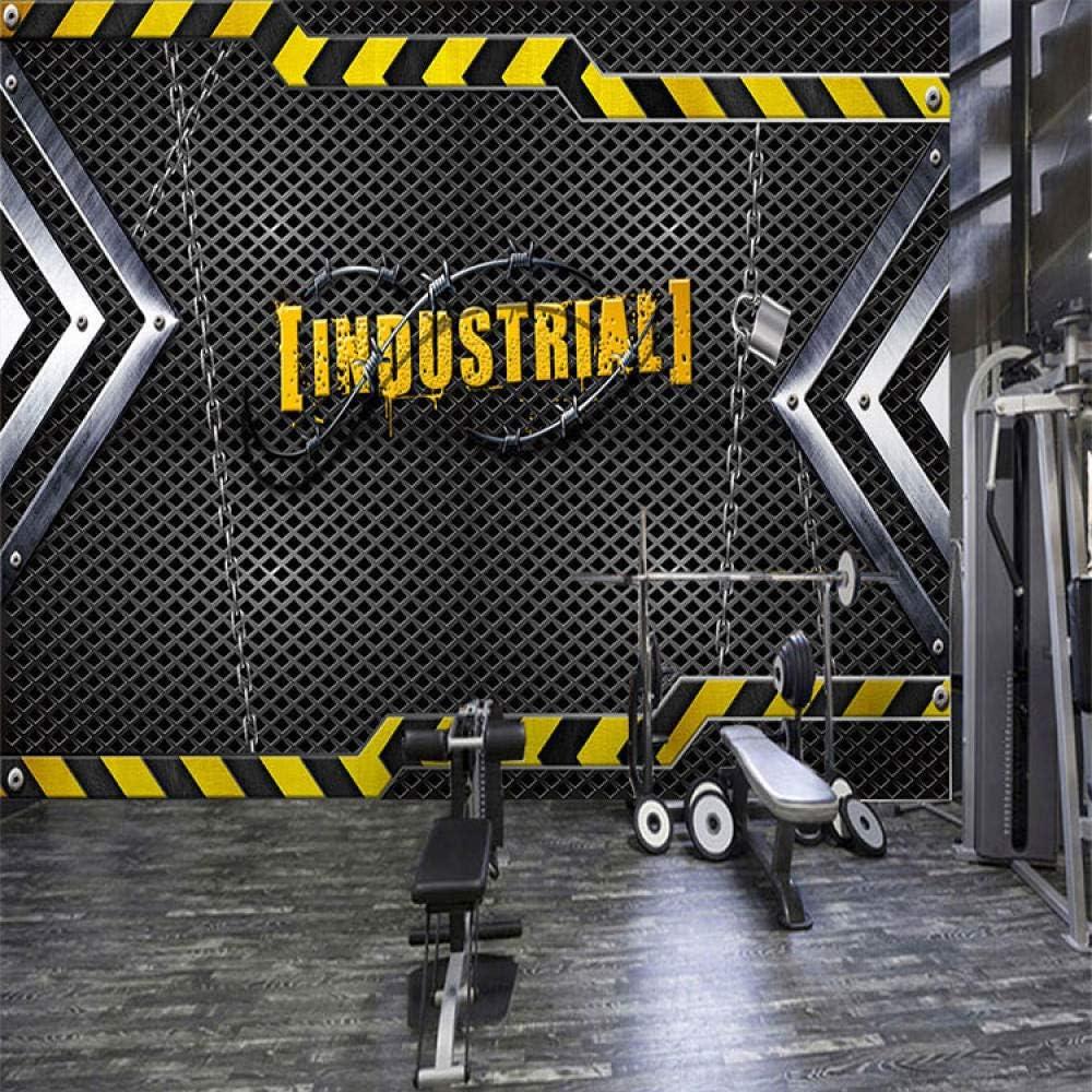 WHYBH Papel Pintado Mural Para Habitación Infantil Autoadhesivo (W) 250X (Alto) 175Cm Hierro Metal Industrial Wind Gym Club Foto Decoración De La Pared Póster Papel Pintado Dormitorio Para Niño