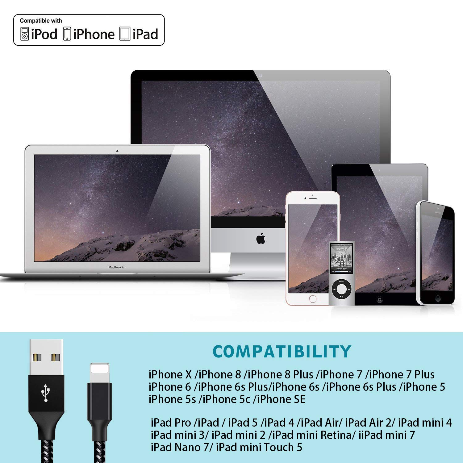 Lightning Cable,WZS iPhone Charger Cables 4Pack 3FT 6FT 6FT 10FT to USB Syncing Data and Nylon Braided Cord Charger for iPhoneX//Xr//8//8Plus//7//7Plus//6//6Plus//6s//6sPlus//5//5s//5c//SE and More