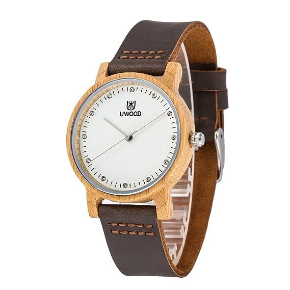 Natural madera relojes, MUJUZE Japón Movt reloj de cuarzo reloj de peso ligero para cuero