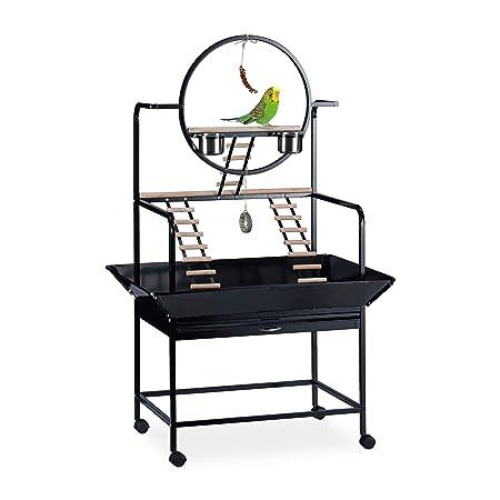 Relaxdays, 170x100x80 cm, Negro Jaula XL, Escalera para pájaros ...