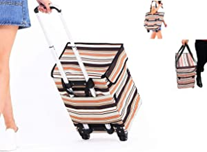 Collapsible Reusable Trolley Shopping Bag - Fineget Waterproof Foldable Utility Cart With Telescoping Handle and Wheels for Women Travelling Vacations Camping Beach Play Picnic Laundry Luggage School