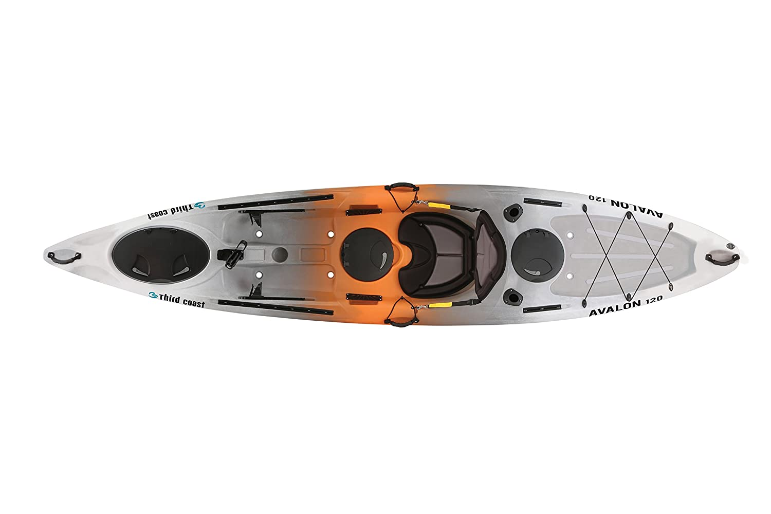 Third Coast Avalon 120 Sit On Angler Kayak Orange Gray White