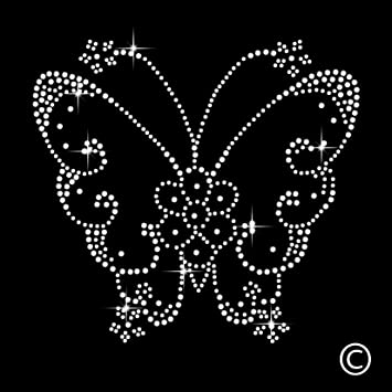 Butterfly Rhinestone Diamante Motif T Shirt Transfer Iron On Hotfix Gem   Amazon.co.uk  Kitchen   Home c5b591e43391