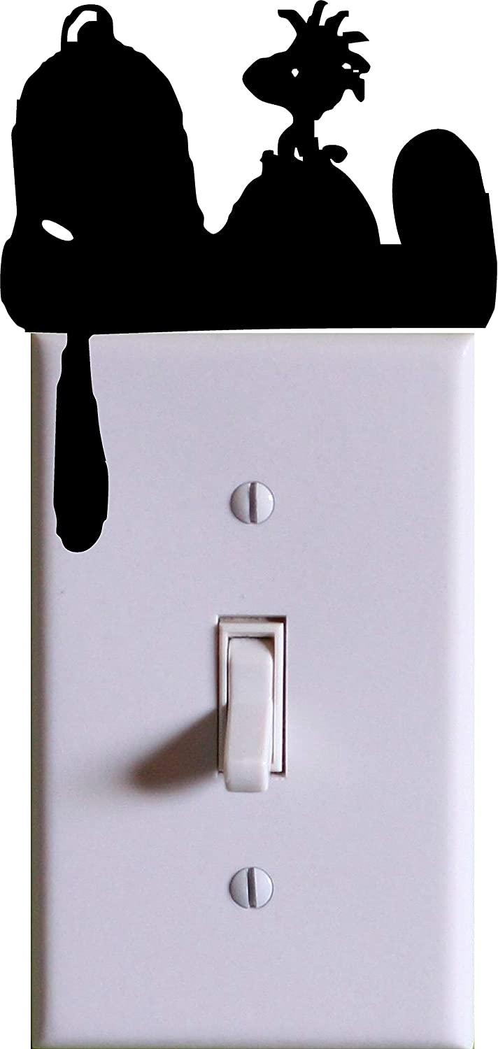 Snoopy and Woodstock Wall Light Switch Cover Decal / BLACK / Kids Room Home Decor