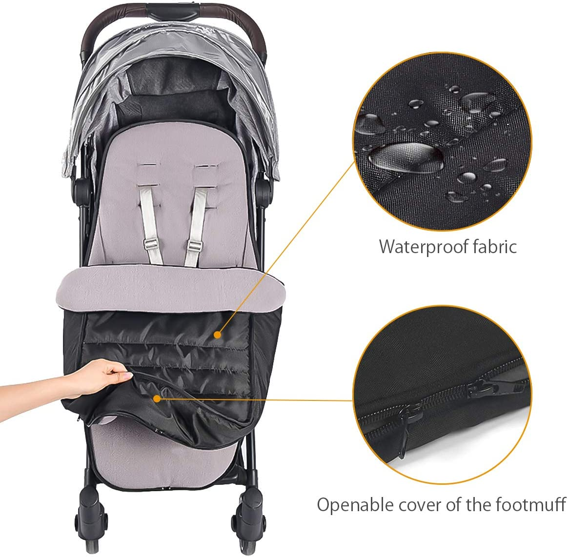 SONARIN Universal Premium Pushchair Footmuff,Waterproof and Windproof,Cosy Toes Fleece Lined Universal Fitting for Pushchairs Strollers Prams Buggy Black