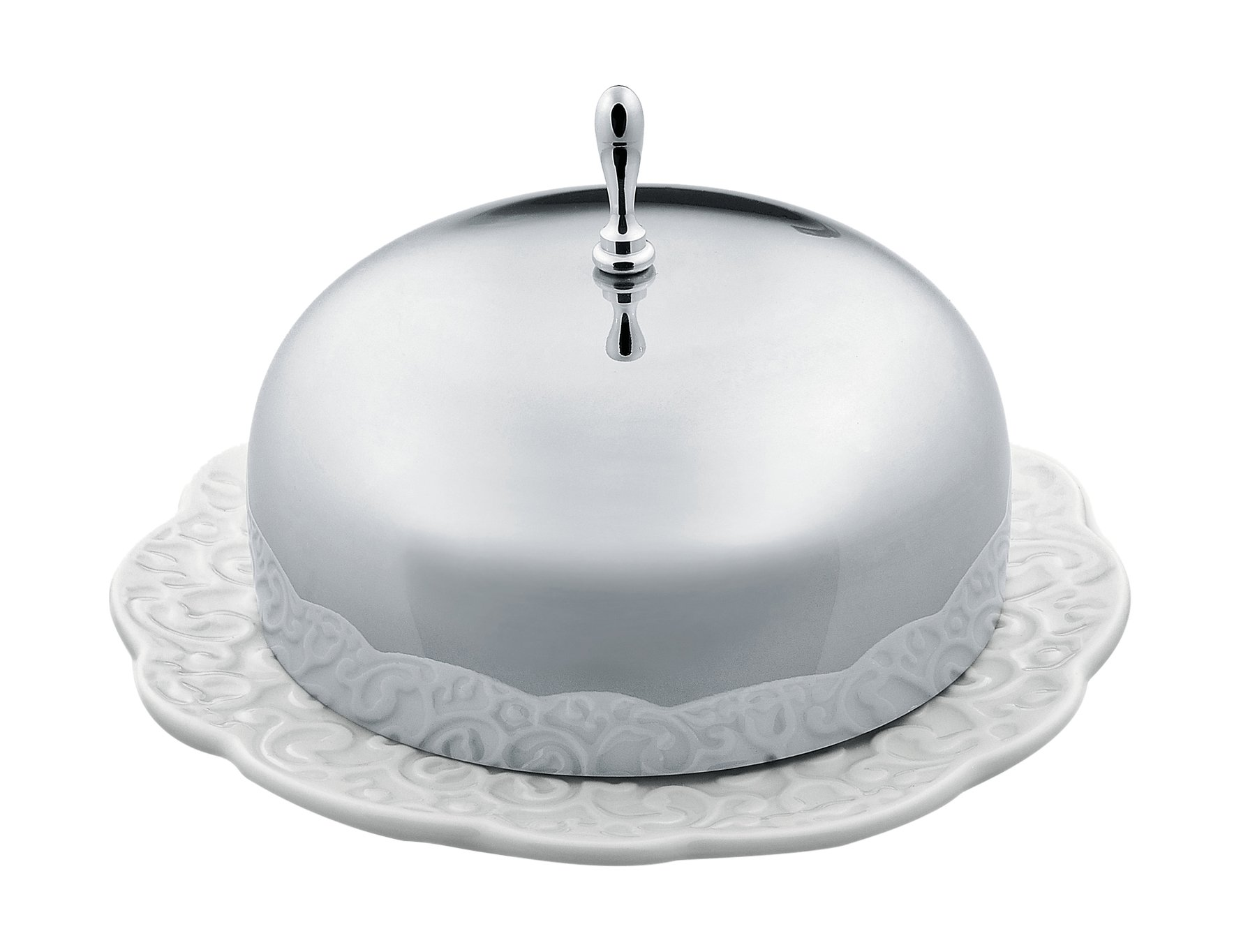 Alessi''Dressed'' Butter Dish in Porcelain With Lid in 18/10 Stainless Steel Mirror Polished, White