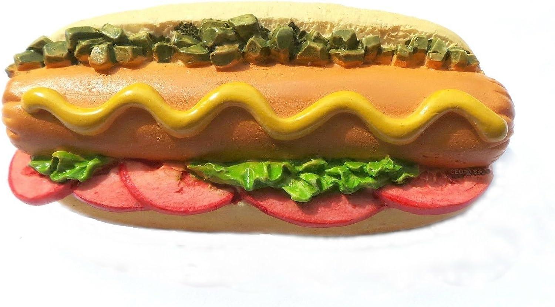 Cooked Hotdog Sandwich Garnished Fast-food Food Collection Resin 3d Fridge Magnet