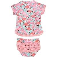 758e4890464 RuffleButts Little Girls UPF 50+ 2-Piece Short Sleeve Rash Guard Bikini w/