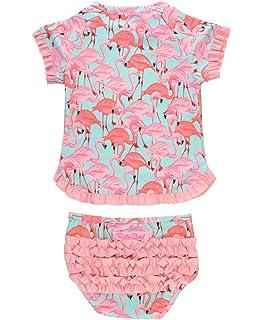 4716ae8569 RuffleButts Little Girls UPF 50+ 2-Piece Short Sleeve Rash Guard Bikini w/