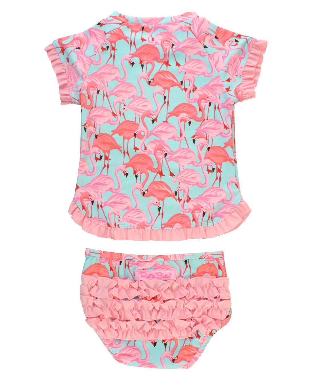 RuffleButts Baby/Toddler Girls Flamingo Swimsuit 2 Piece Short Sleeve UPF 50+ Rash Guard Set - 12-18m by RuffleButts