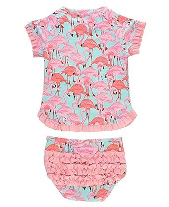 27be268ad5 RuffleButts Baby Toddler Girls Flamingo Swimsuit 2 Piece Short Sleeve UPF  50+ Rash Guard