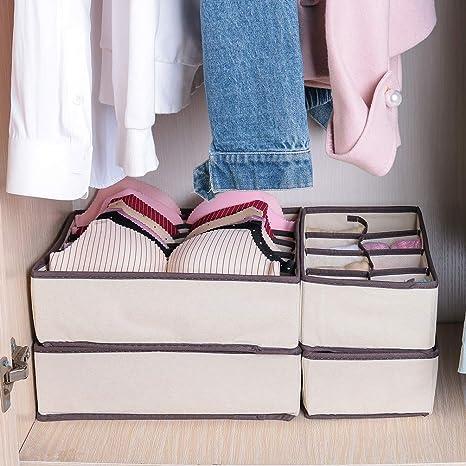 corbatas Juego de 4 separadores de organizador de ropa interior Baodan bufandas sujetador pa/ñuelos para guardar calcetines gris organizador de cajones