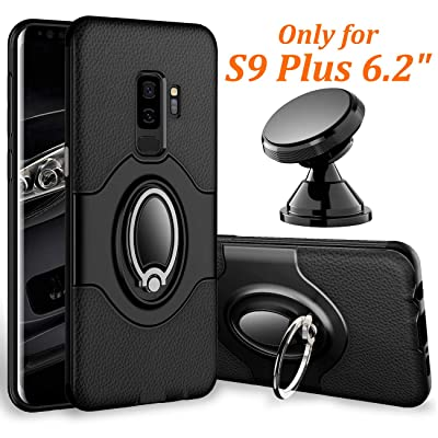 Samsung Galaxy S9 Plus Case - eSamcore Ring Holder Kickstand Cases + Dashboard Magnetic Phone Car Mount [Black] [5Bkhe0903991]