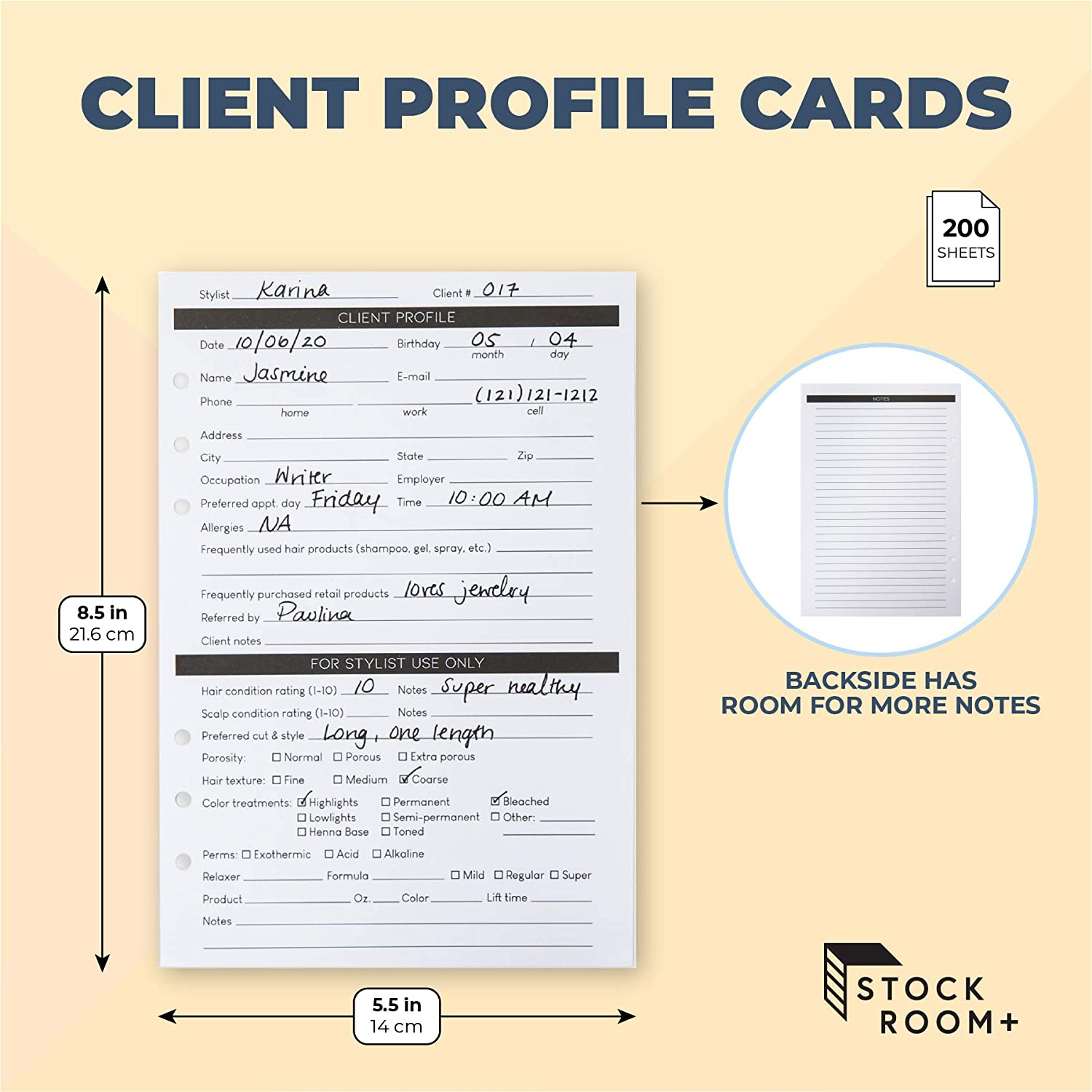 Business Salons 8.5 x 5.5 in, White, 200 Pack Client Profile Cards for Stylists