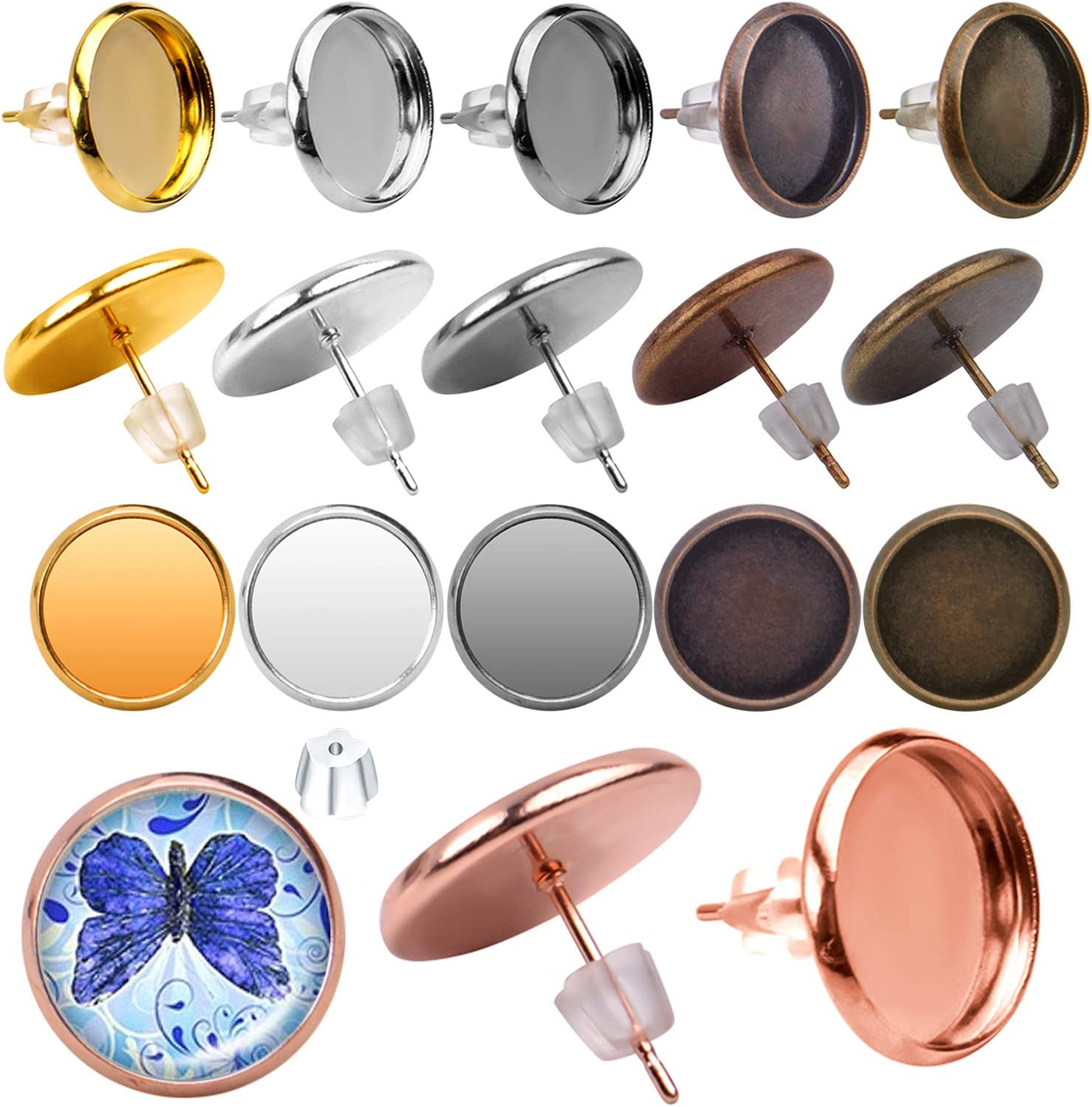 60pcs Stainless Steel Blank Stud Earring Bezel Post Cup fit for 12mm Cabochon with 60pcs Clear Earring Backs for Jewelry Making Earring Cabochon Settings 6 Colors