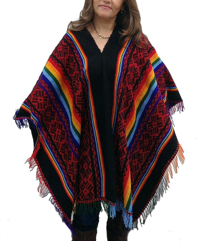 Alpacaandmore Damen Original peruanischer gestreifter Poncho Cape Umhang Einheitsgröße mehrfarbig mit Fransen