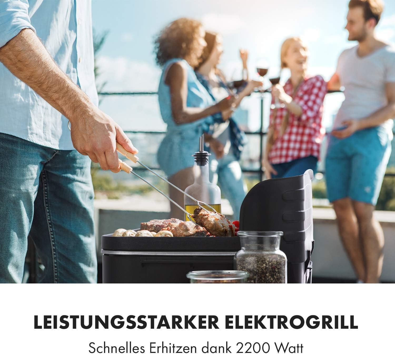 2200 Watt Fettauffangschale Stauraum Easy Grill Concept Windschutz abnehmbare Seitenteile Antihaft-Grillfl/äche stufenloser Heizregler Klarstein Porterhouse Elektrogrill schwarz