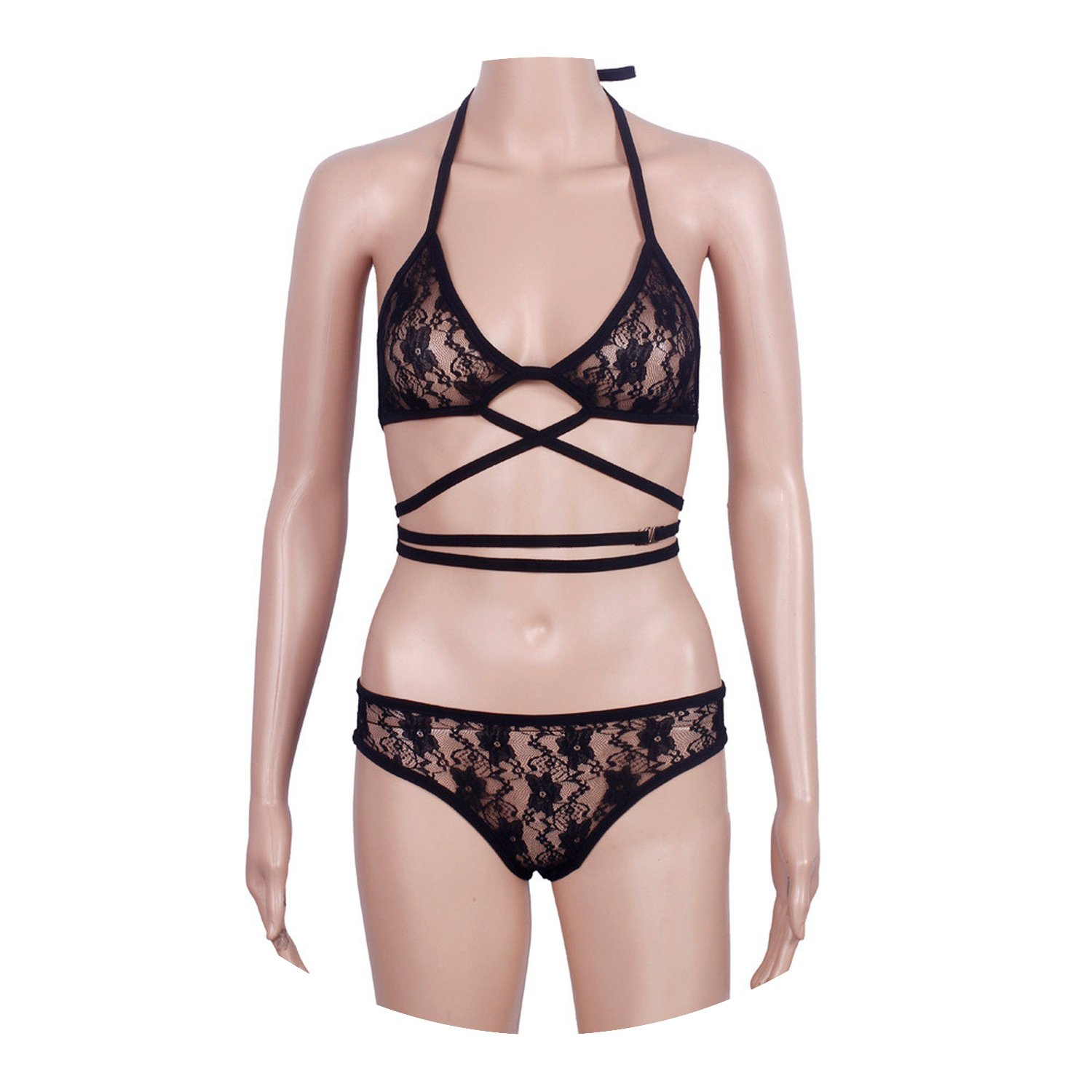 Sexy Lingerie Lace Cross Belt Hollow Bra Intimate Ladies Underwear Set Lace  Bra and Panty Set Black at Amazon Women s Clothing store  d2c163ef3