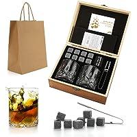 Whiskey Stones Gift Set - Whiskey Glass Set of 2 - Granite Chilling Whiskey Rocks - Scotch Bourbon Whiskey Glass Gift…
