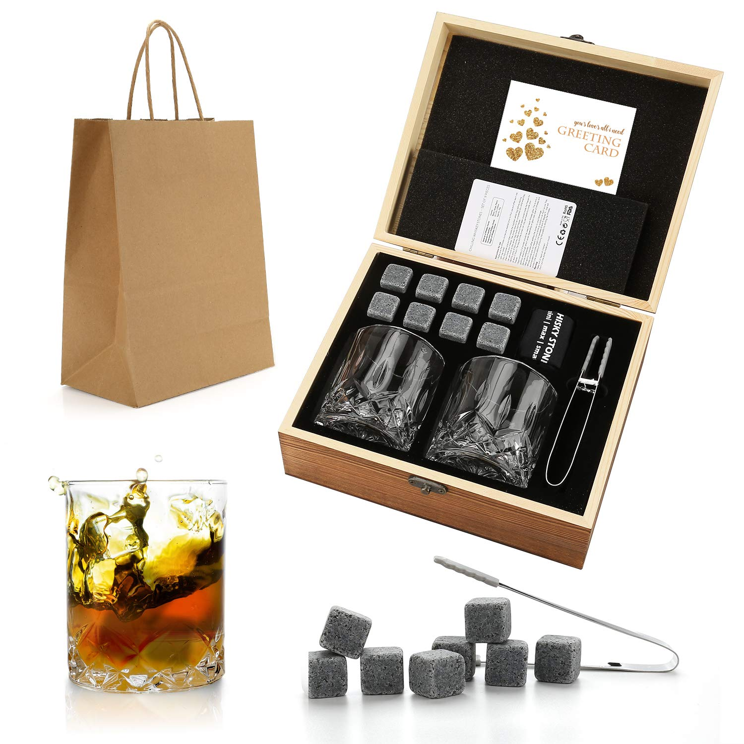 Whiskey Stones Gift Set - Whiskey Glass Set of 2 - Granite Chilling Whiskey Rocks - Scotch Bourbon Whiskey Glass Gift Box Set - Best Drinking Gifts for Men Dad Husband Birthday Party Holiday Present