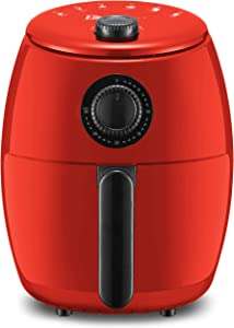 Maxi-Matic EAF-0201R Personal Compact Space Saving Electric Hot Air Fryer Oil-Less Healthy Cooker, Timer & Temperature Controls, PFOA/PTFE Free, 1000-Watts, Red 2.1 Quart
