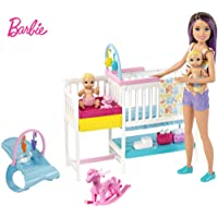 Barbie Nursery Playset with Skipper Babysitters Doll, 2 Baby Dolls, Crib and 10+...