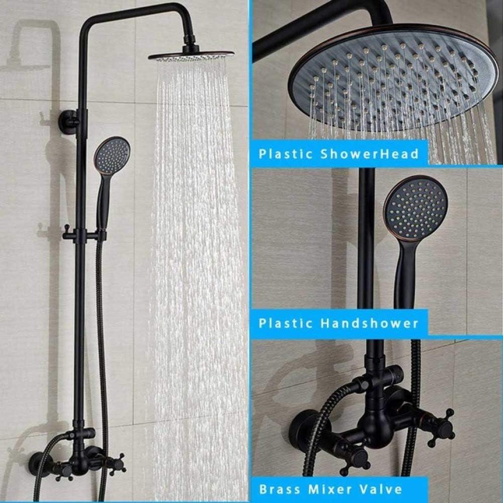 HSIYE Set doccia Set di rubinetti doccia neri Colonna doccia da bagno 8 /& quot;/Soffione a pioggia e soffione doccia a parete in ottone testa quadrata Cina