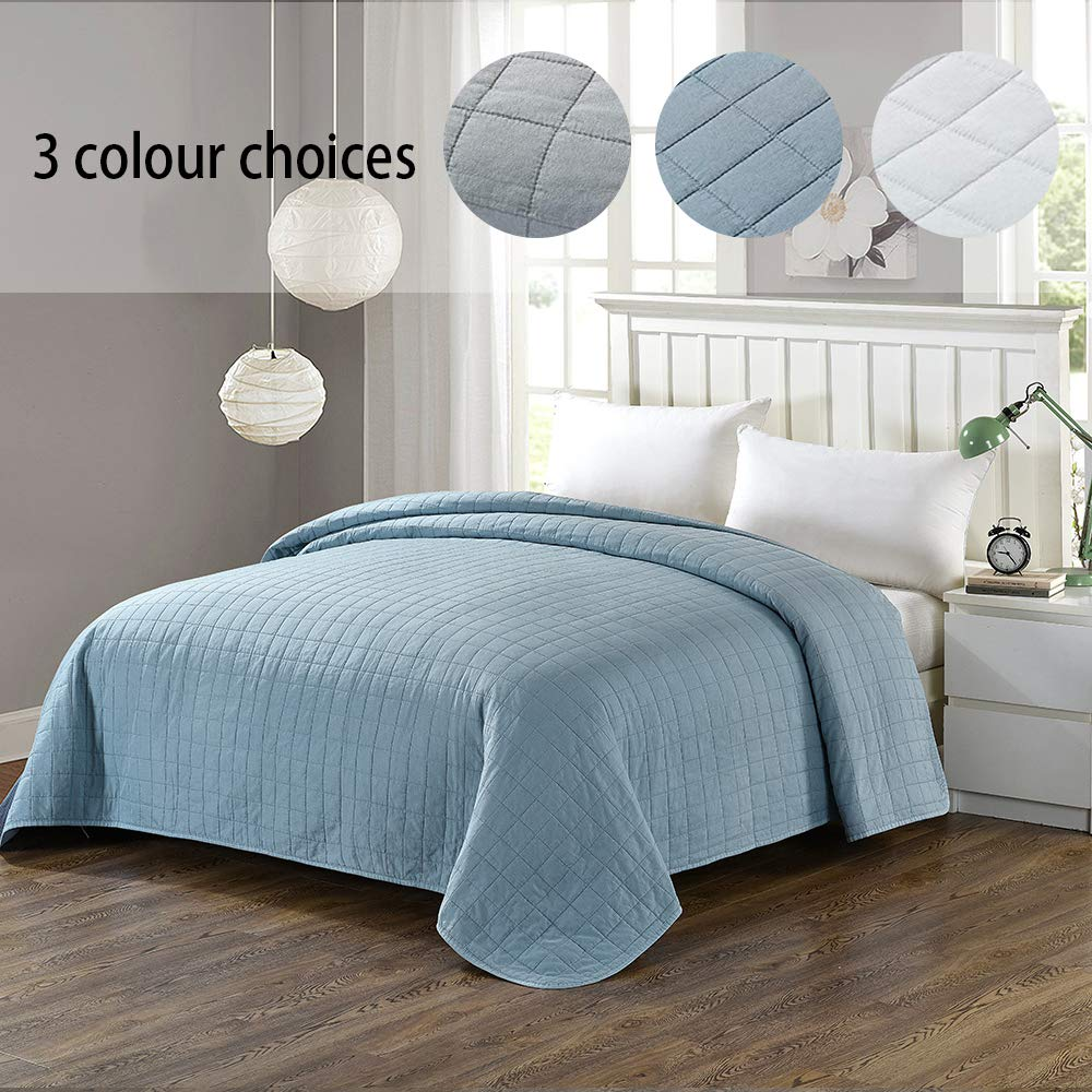 Simple&Opulence Washed Super Soft Microfiber Quilt Bedspread (Queen, Blue)