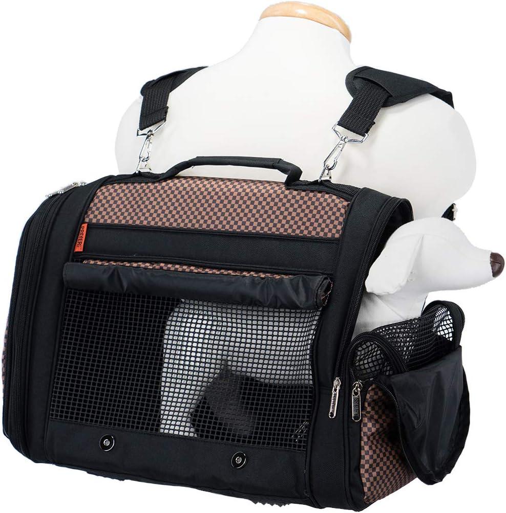 LOVEPET Mochila para Mascotas Mochila para Mascotas Multifunci/ón Plegable Cat Bag Transpirable Viaje Mochila para Viaje Tote Brown PU