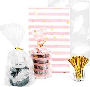 Gusseted cellophane Bags 100 PCS with 2 Colors (Size 5