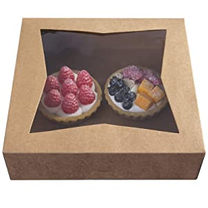 [15pcs]10inch Natural Kraft Bakery Pie Boxes with PVC Windows,Large Cookie Box 10x10x2.5inch Pack of 15 (Brown, 15)