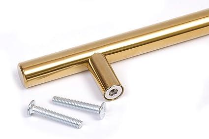 64mm hole centres acabado dorado Tirador en forma de T para cocina dormitorio ba/ño