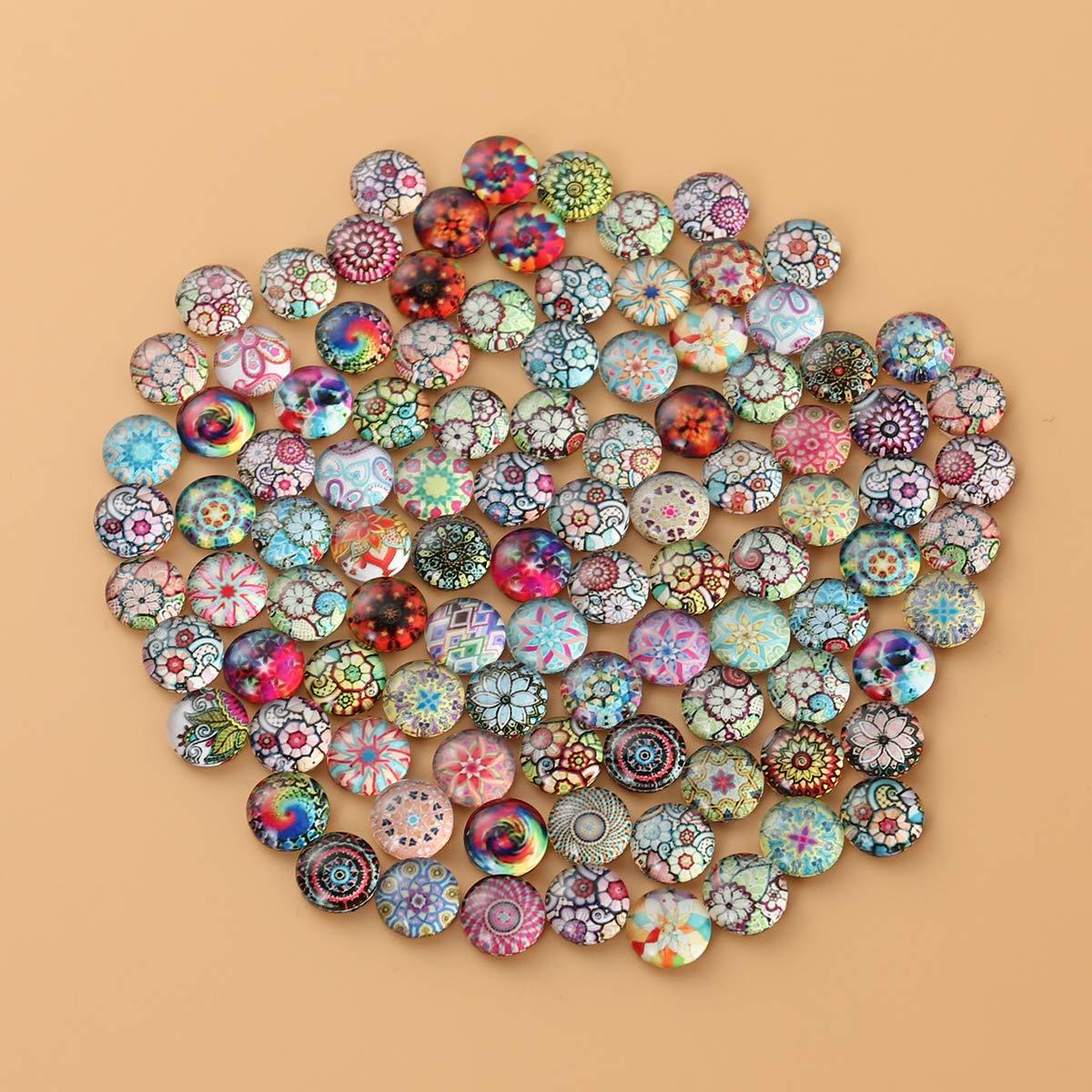 Healifty Cabochons en verre couleur m/élang/ée motif de fleurs demi-ronde artisanat mosa/ïque pour la fabrication de bijoux 8 mm 100pcs