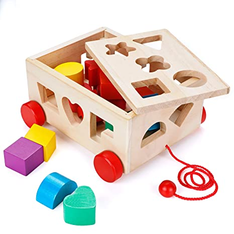 3516042510a5 Amazon.com  OSPORTFUN Kids Car Shape Sorter Toys Puzzle Baby Educational  Wooden Toy Colorful Children s Building Blocks