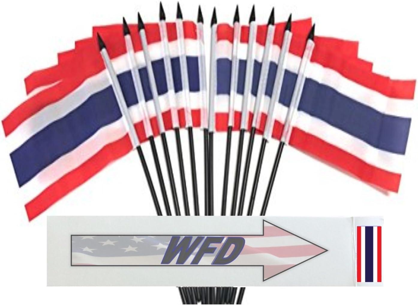 """Wholesale Lot of 6 Thailand 4/""""x6/"""" Desk Table Stick Flag"""