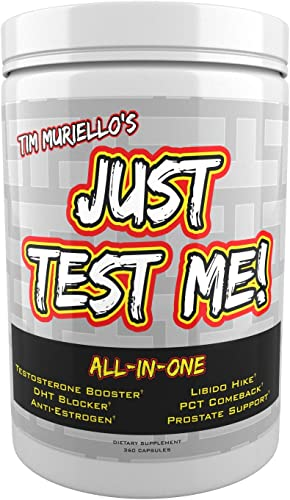 Just Test Me All-In-One Insanely High Dosed Natural Testosterone Booster – Post Cycle Therapy PCT – Anti-Estrogen – DHT Blocker – Prostate Support – Power – Extra Strength 360 Caps