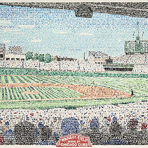 (Wrigley Field - Chicago Cubs All Time Roster Wall Art Print - Cubs Poster - Chicago Decor - Fly the W - 16