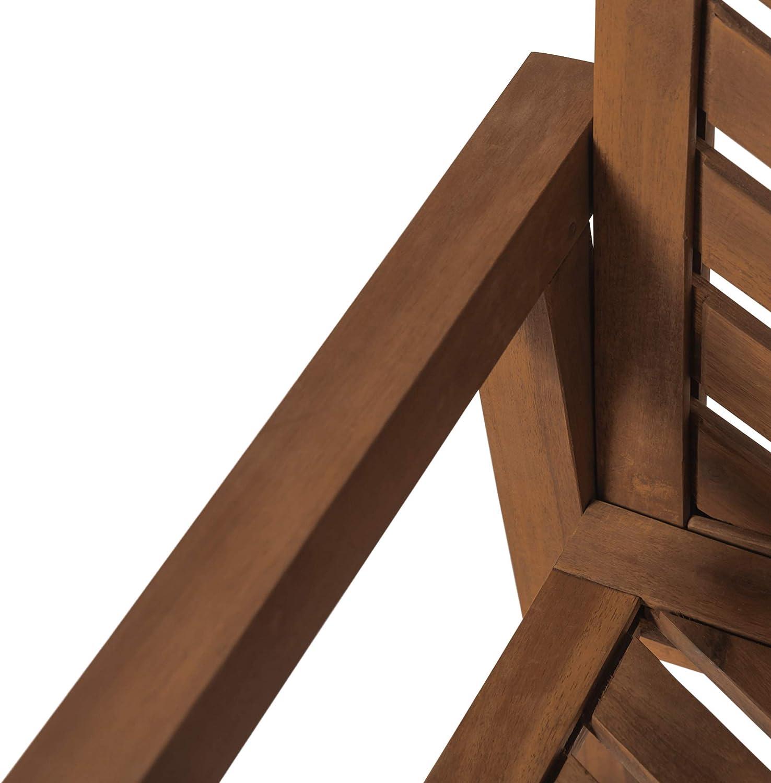 Brown Walker Edison Furniture Company AZW3CGVINBR Outdoor Wood Chevron Patio Furniture Set Chairs Side Table All Weather Backyard Conversation Garden Poolside Balcony