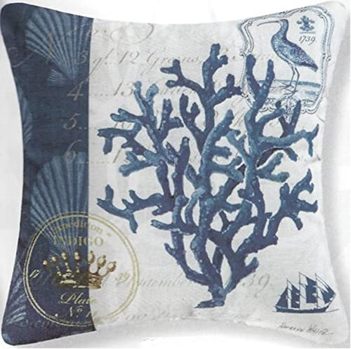 GALLERIE II 18″ Blue and White Indigo Coral Reef Square Outdoor Throw Pillow