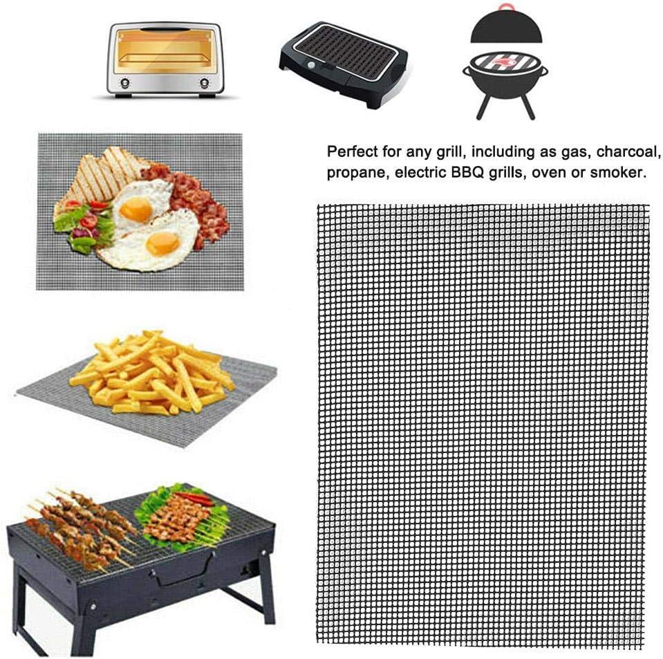 Nannday BBQ Grill Mat, BBQ Mesh Mat Anti-Stick BBQ Grilling Liner Mesh Mat Sheet Sheet Barbecue Tools for Picnic Patio Lawn Garden Outdoors Home(L) S
