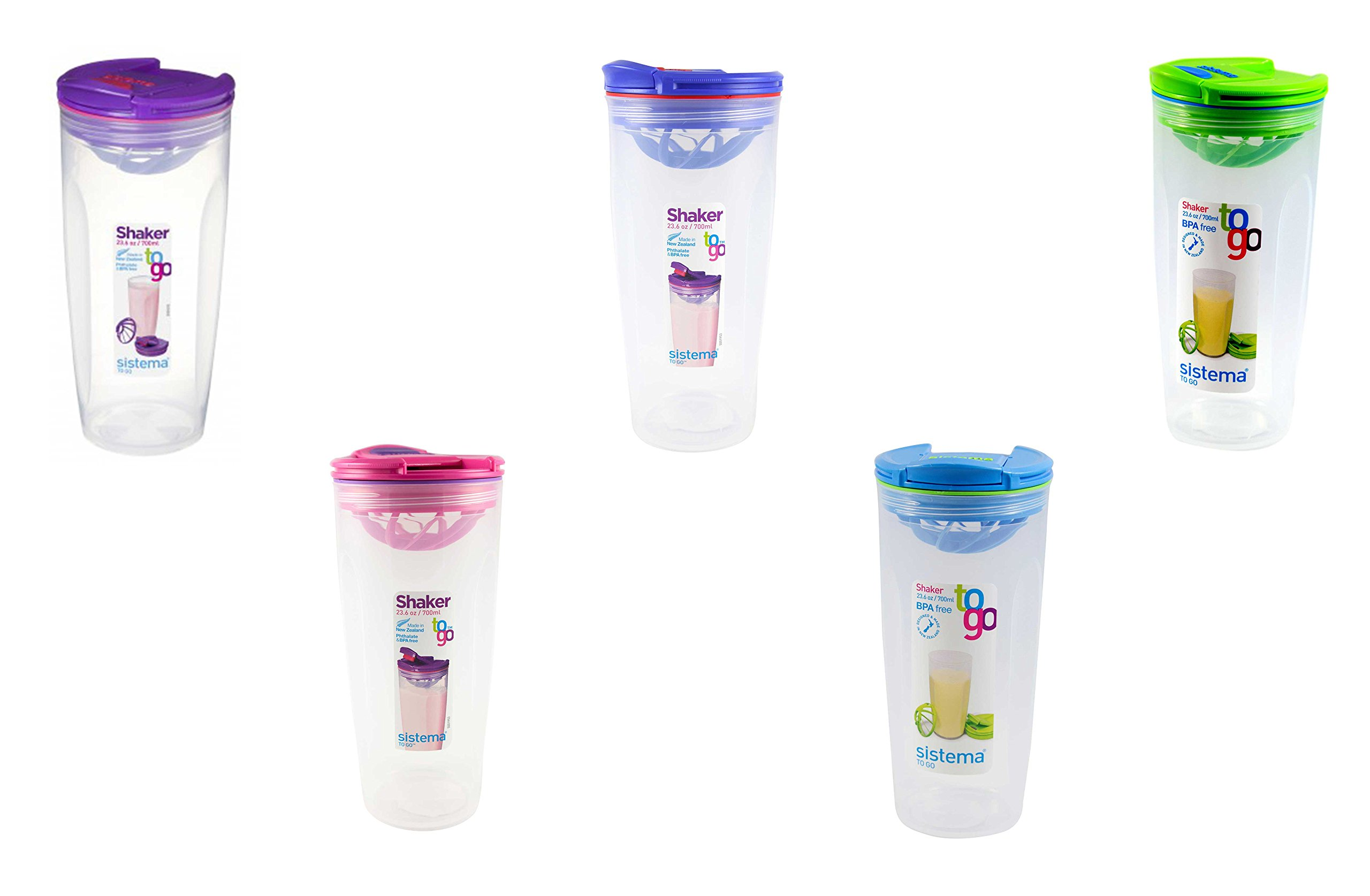 Sistema 23.6OZ / 700ML Shaker To Go, Colors Vary, 2-pack