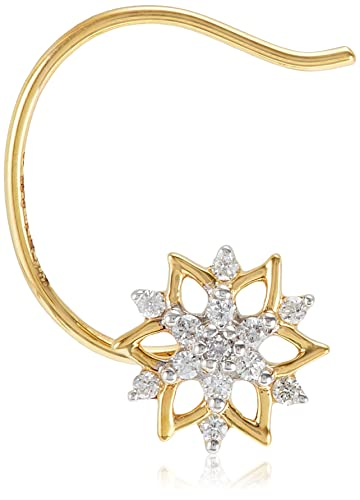 Buy Senco Gold 18KT Yellow Gold and Diamond Nose Ring for Women