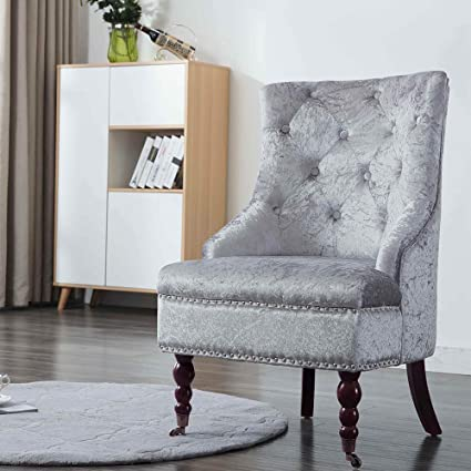 Tremendous Exqui Velvet Bedroom Chair Padded Accent Chair Highback Sofa Chair Armchair With 360 Degree Swivel Casters For Living Room Bedroom And Hotel Silver Onthecornerstone Fun Painted Chair Ideas Images Onthecornerstoneorg
