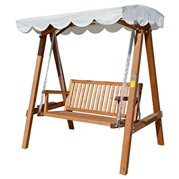 outsunny 2 seater wooden wood garden swing chair seat hammock bench furniture lounger bed wood new outsunny 2 seater wooden wood garden swing chair seat hammock      rh   amazon co uk