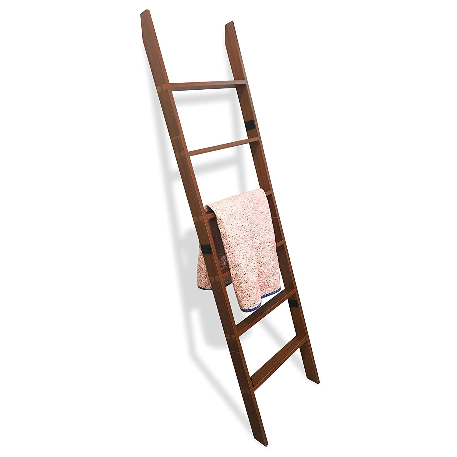 RELODECOR 6-Foot Wall Leaning Blanket Ladder| Laminate Snag Free Construction (Brown)