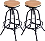 Costway Vintage Bar Stool Metal Frame Wood Top Adjustable Height Swivel Industrial (2Bar Stools)  sc 1 st  Amazon.com & Amazon.com: Best Choice Products Vintage Bar Stool Industrial ... islam-shia.org